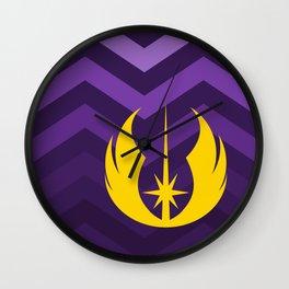 Jedi Order in Gold On Purple Ombre Chevrons Wall Clock