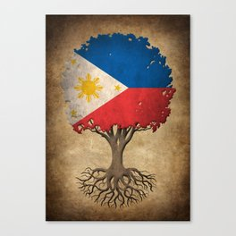 Vintage Tree of Life with Flag of Philippines Canvas Print