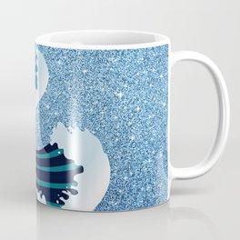 Abstract white navy blue glitter japanese waves Coffee Mug