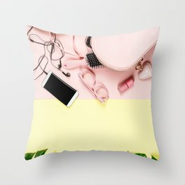 Flat lay with trendy accessories, close up Throw Pillow