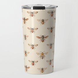 Vintage Bee Illustration Pattern Travel Mug