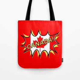 Canadian Flag Comic Style Starburst Tote Bag