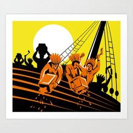 Boston Tea Party Raiders Retro Art Print