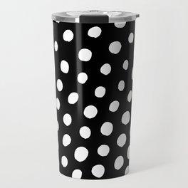 White Dots with Black Background Travel Mug