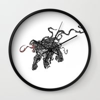 venom Wall Clocks featuring Venom by Megan Yiu