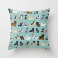 german Throw Pillows featuring GERMAN DOGS by DoggieDrawings