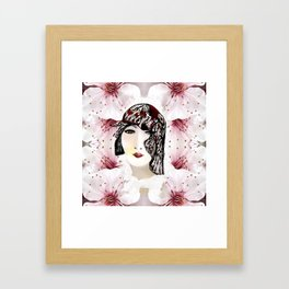 Floral 40's Queen on White,Burgundy and Black Framed Art Print