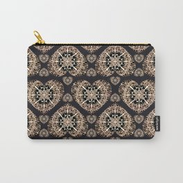Black and Rose-Gold Valentine Mandala Heart Textile Carry-All Pouch