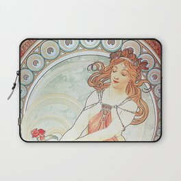 Painting by Alphonse Mucha 1898 // Retro Woman with a Flower Geometric Circle Abstract Laptop Sleeve