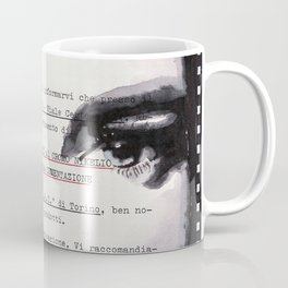 Veronica - ink drawing over vintage commercial invoice Coffee Mug