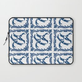 Blue and white swallows birds chinoiserie china porcelain toile asian ginger jar delft pattern Laptop Sleeve
