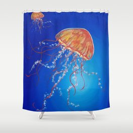 Jellyfish, Oil painting by Faye Shower Curtain