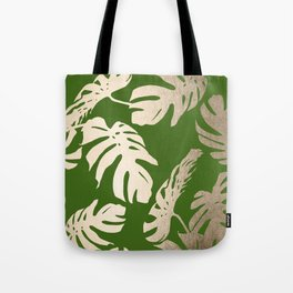 Palm Leaves White Gold Sands on Jungle Green Tote Bag