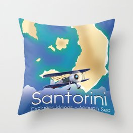 Santorini Cyclades islands Travel Map Throw Pillow