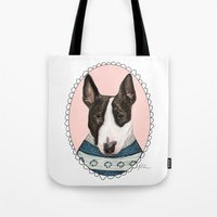 bull terrier Tote Bags featuring Bull Terrier by Rhian Davie