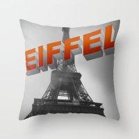 eiffel Throw Pillows featuring Eiffel by Vin Zzep