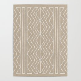 Cream Linen Beige Arrows Pattern Poster