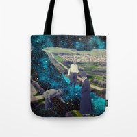 river Tote Bags featuring River by Cs025