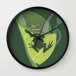 Pacific Tree Frog in Skunk Cabbage Wall Clock