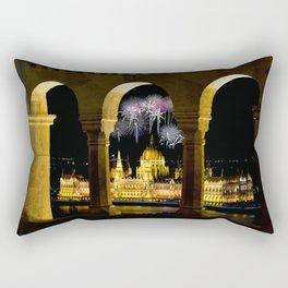 Hungarian Parliament with fireworks, Rectangular Pillow