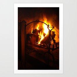 Log Fire Art Print