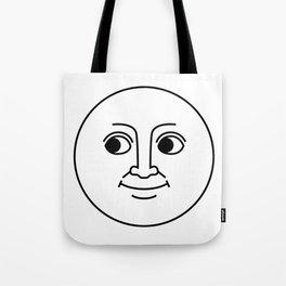 Creepy Moon Face Tote Bag