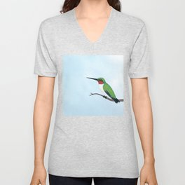 the studious male (ruby-throated hummingbird) Unisex V-Neck