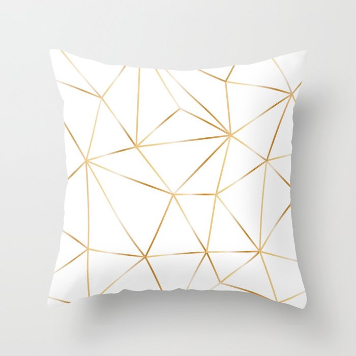gold polygon on white Throw Pillow