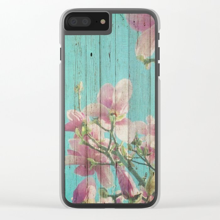 Sweet Flowers on Wood 08 Clear iPhone Case