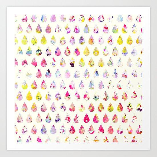 Rainbow Watercolor Polka Dots Abstract Drop Vector Art Print