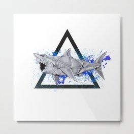 Paper Shark- Wild World of Paper Series Metal Print