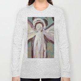 Impressionistic Angel #2 Maroon & Ivory Long Sleeve T-shirt