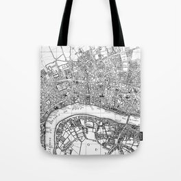 Vintage Map of London England (1727) BW Tote Bag