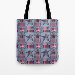 Blue denim plaid patchwork . Tote Bag