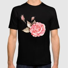 Watercolor rose Mens Fitted Tee MEDIUM Black