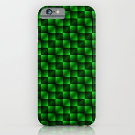 Fashionable large lozenges from small green intersecting squares in gradient dark cage. iPhone Case