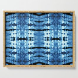 Indigo Satin Shibori Serving Tray