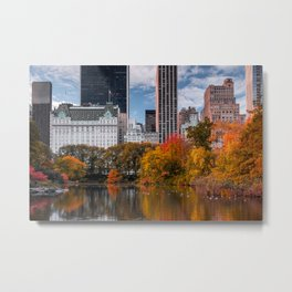 Autumn Sunrise at The Pond of Central Park in New York City Metal Print