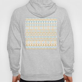 Aztec Influence Pattern Blue White Gold Hoody