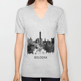 Bologna Italy Skyline BW Unisex V-Neck
