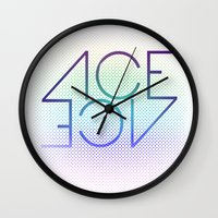 ace Wall Clocks featuring Ace Ace by Covered In Moons