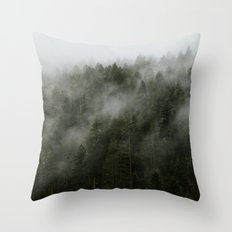 Pacific Northwest Foggy Forest Throw Pillow