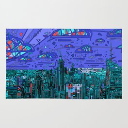 new york city panorama blue Rug