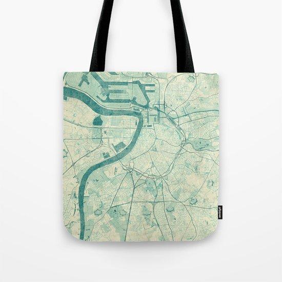 Antwerp Map Blue Vintage Tote Bag