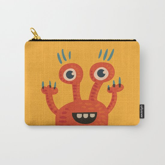 Funny Orange Happy Creature Carry-All Pouch