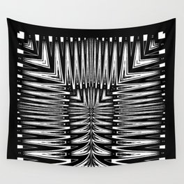 Geometric Black and White Traditional Tribal Pattern Wall Tapestry