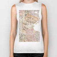 dublin Biker Tanks featuring Dublin map by Mapsland