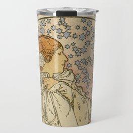 Camille by Alphonse Mucha Travel Mug