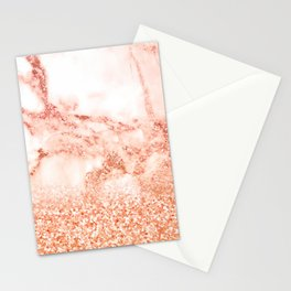 Sparkly Peach Copper Rose Gold Ombre Bohemian Marble Stationery Cards