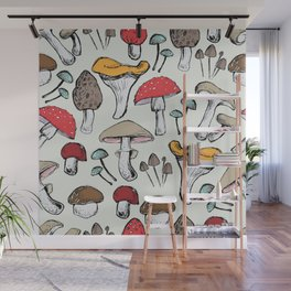Hand- drawn Mushrooms pattern Wall Mural